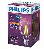 Лампа Эдисона светодиодная 7W Philips G93 2700K прозрачная