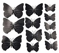Интерьерная настенная наклейка «Бабочки» черные, 3D бабочки