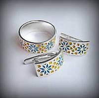 12051-1 Серебряный комплект Вышиванка с эмалью 925 пробы от украинского производителя
