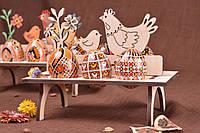Подставка деревянная для пасхальных яйц Курочки, фото 1