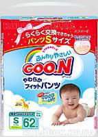 Трусики-подгузники GOO.N для активных детей 5-9 кг (размер S, унисекс, 62 шт) Трусики-подгузники GOO.N