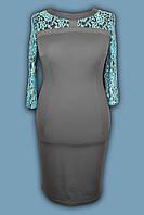 Платье  №  1034  синее с цветами