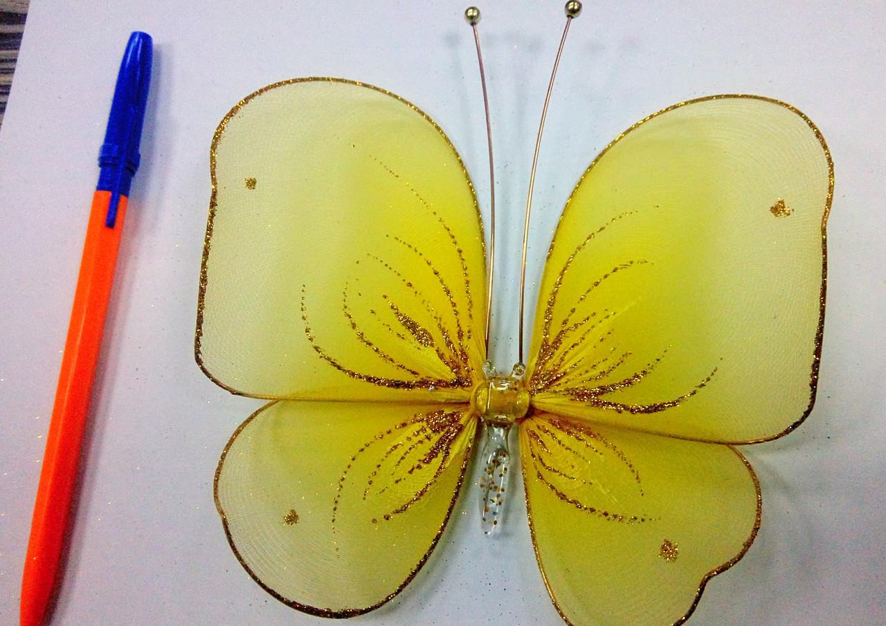 Декоративная Бабочка для штор желтая