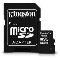 Карта памяти Micro SDHC 4Gb, Kingston Class 10 + SD переходник