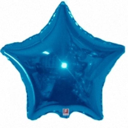 Шар голубая звезда синяя 46 см (гелий)