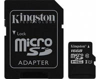 Карта памяти Micro SDHC 16Gb, Kingston Class 10 + SD переходник