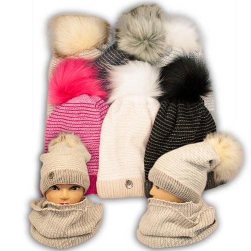 Комплект шапка и шарф (хомут) для девочки, 1029, Agbo (Польша)