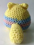 Вязаная игрушка котик желто-голубой, фото 3