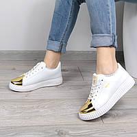 Кроссовки женские Puma Rihanna Sport белые с золотом, спортивная обувь