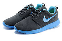 Мужские кроссовки Nike Roshe Run suede lover grey bue, фото 1