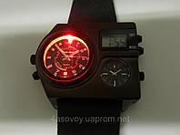 Часы мужские Alberto Kavalli в стиле Diesel с подсветкой, черный ремешок