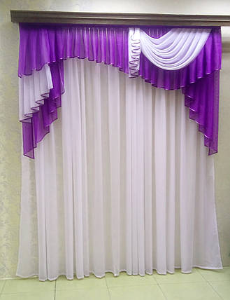 Ламбрекен Мадлен (для карниза 2м длиной) -фиолетовый, фото 2