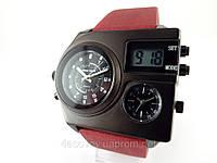 Часы мужские Alberto Kavalli в стиле Diesel с подсветкой, красный ремешок