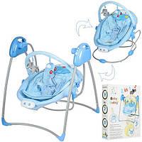 Детская электрокачель музыкальная шезлонг 2 в 1 Bambi Swing таймер  голубая