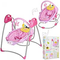 Детская электрокачель шезлонг 2 в 1 Bambi Swing с таймером  розовая