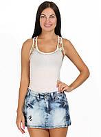 Молодежная джинсовая мини юбка Складочка АКЦИЯ