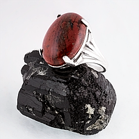 Яшма красная, 20*15 мм., серебро 925, кольцо, 220КЯ
