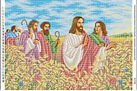 """Схема для  вышивки бисером """"Иисус Христос с апостолами в пшеничном поле"""""""