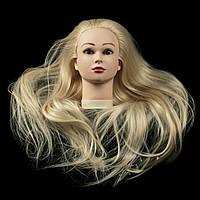 Учебная голова 30% натуральных волос,длина 70см, цвет белый. (blond)