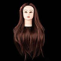 Учебный манекен 30% натуральных волос, длина 70см, шатен с бардовым оттенком. Новинка