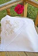 Крыжма из льна для крещения с капюшоном и вышивкой 10 (75*90 см) ТМ Глаздов Белый