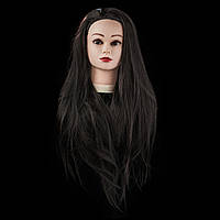 Учебная голова 30% натуральных волос,длина 65-70 см, цвет черный