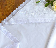 Праздничная крыжма из батиста для крещения с вышивкой №14 (75х90/90х90 см) ТМ Глаздов Белый