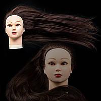 Учебная голова 30% натуральных волос,длина 65 см, цвет темно коричневый (brown), фото 1
