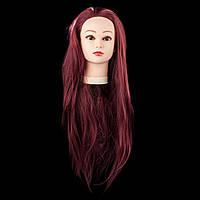 Учебная голова 30% натуральных волос,длина 70см, цвет вышневый, фото 1