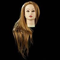 Учебная голова 30% натуральных волос,длина 65 см, цвет пшеничный ( gold yellow)