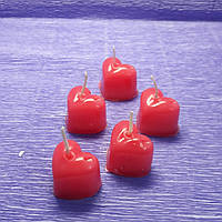 Свечи сердечки мини 5шт. красные