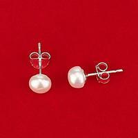 Серьги-гвоздики - натуральный белый жемчуг, серебро, 0,6 см.