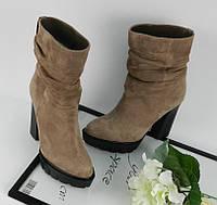 Женские ботинки зима, замшевые, бежевые / ботинки женские на каблуке 11,5 см, стильные