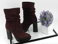 Женские ботинки зима, замшевые, марсала / ботинки женские на каблуке 11,5 см, удобные