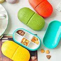Контейнер для таблеток на 6 отделений красный, фото 1