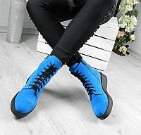 Женские  ботинки 2017, натуральная замша, голубые / ботинки на шнуровке женские, модные