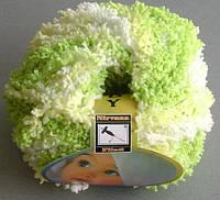 Фантазийная пряжа Бэби махра, салатовый-желтый-белый