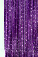 """Шторы-нити (кисея) однотонные """"дождик"""" (темно-фиолетовый) №211, фото 1"""