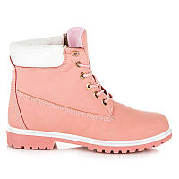 Осенние ботинки женские розовые под тимберленд