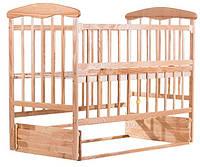 Детская кроватка из ольхи светлая (с маятником БЕЗ  ящика )боковина ОТКИДНАЯ
