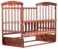 Детская кроватка из ольхи темная (с маятником БЕЗ  ящика )боковина ОТКИДНАЯ