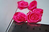 Роза голова из атласной ленты. Розовая