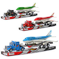 Трейлер K 18-5 (60шт) инер-й, 43см, самолет инер-й, 31см, 3 цвета, в слюде, 49-14-8,5см