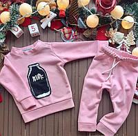 """Симпатичный утепленный детский костюм """"Milk"""" (розовый) от ТМ Mimi-Book"""
