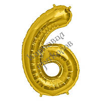 Шарик Цифра (45см) золото 6