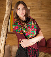 Українська хустка бордо (90х90)