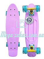 """Cкейт пенни борд Fish (Penny Board) пенни Pastels Siries """"Пастельные оттенки"""": светящиеся колеса, Lilac"""