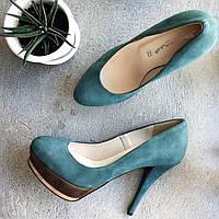 Туфли из натуральной замши бирюзового цвета