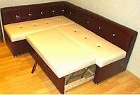 Мягкий кухонный уголок со спальным местом и нишей коричнево- бежевый.