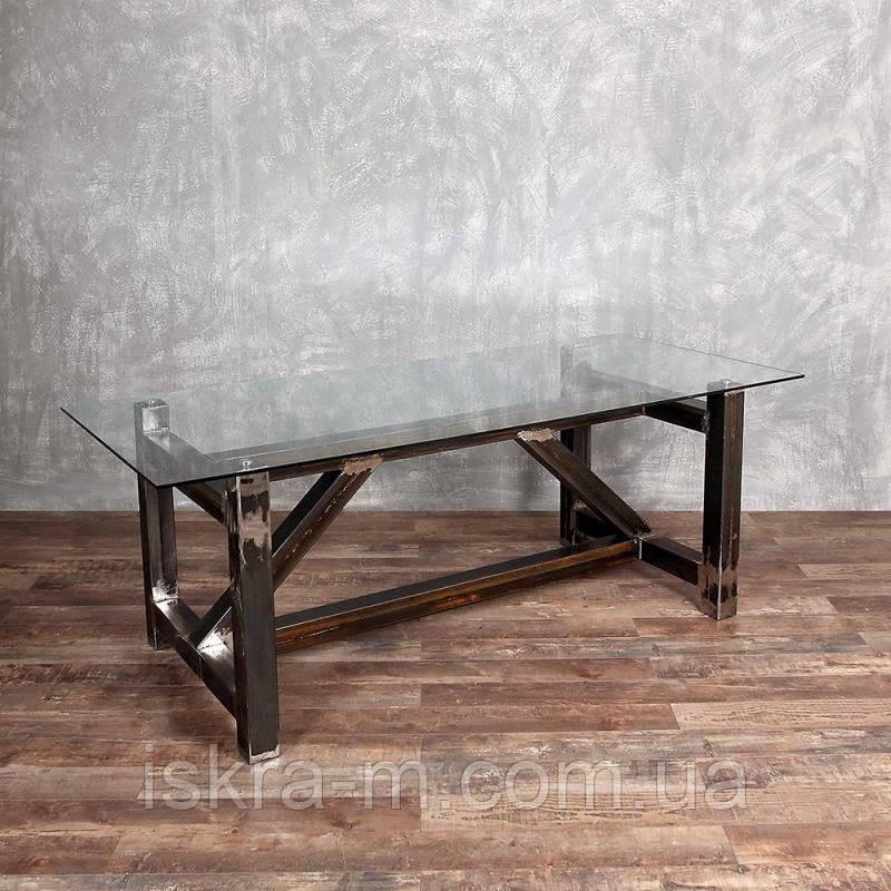 Кованый стол журнальный кофейный со стеклянной столешницей в стиле лофт